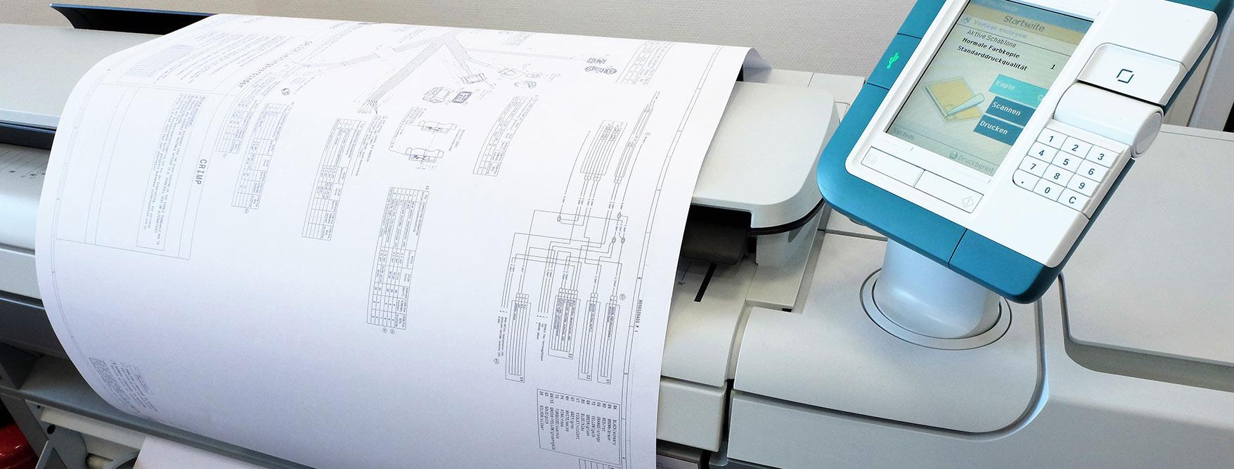 Druck bis A0 von Bauplänen und großformatigen Dokumenten